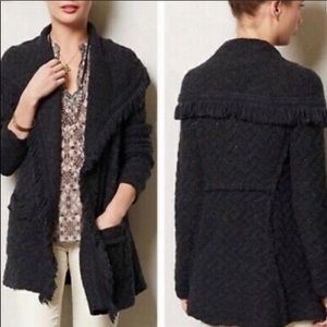 ANGEL OF THE NORTH Chevron Cable Fringe Cardigan
